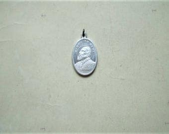 St. Philip Neri - Vintage Medal or Pendant - Oval - Metal - Queen of Angels - Catholic - Holy Charm