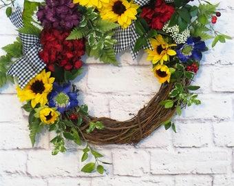 Sunflower Wreath, Sunflower Decor, Spring Wreath, Summer Wreath, Year Round Decor, Mothers Day Gift
