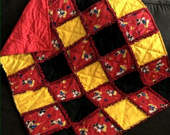 Mickey Mouse Baby Rag Quilt Handmade One Of A Kind Baby Rag Quilt Baby Crib Nursery Shabby Chic Quilt  1