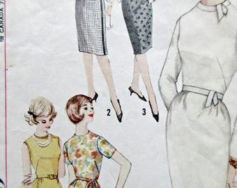 Vintage Simplicity 4518 Sewing Pattern, 1960s Dress Pattern, Slim Skirted Dress, Bust 32, 1960s Sewing Pattern, Mad Men, Sleeve Variations