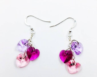 Multi-colored Swarovski crystal heart earrings, sterling heart chain, gift for her, bridesmaid gifts