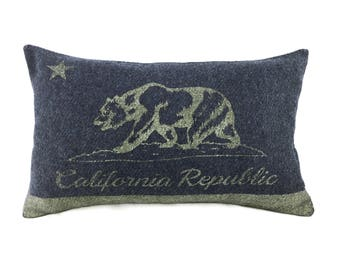 California Flag Pillow Cover from Military Blanket - Charcoal Gray & Champagne Metallic (add'l colors avail)