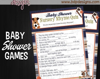 """Bow Wow Dog Sports NURSERY RHYME Quiz Game Cards (5"""" x 7"""") - INSTANT Download or Prints"""