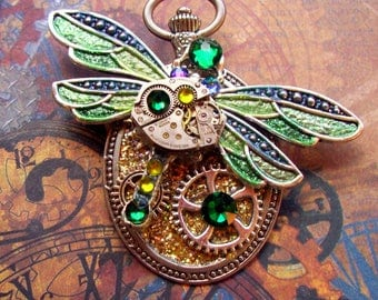 Steampunk Pin (P728) Dragon Fly Brooch, Hand Painted Sparkle Acrylic, Gears and Swarovski Crystals