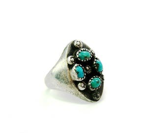 Mens Navajo Ring. Sterling Silver. Blue Green Turquoise, Four Elements. Hand Stamped Suns. Vintage Native American Jewelry. SZ 10.5 Unisex