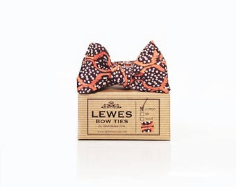 Men's self-tie bow tie in brown cotton with white dots and orange swashes, orange and white self-tie cotton bow tie, brown and orange bowtie