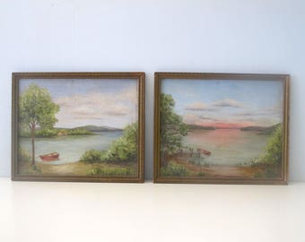 Vintage Set of Two Original Paintings 1930's Lake Rowboat and Sunset in Frame