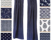 Window Curtains- Drapery Panels- Vintage Indigo Curtains- Navy Blue Curtains- Nautical Drapes- Valance- Custom Curtains- Beach House Decor