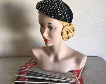 Vintage 1950's 60's Frank Olive Black Wool Hat with Prong Set Rhinestones and Studs