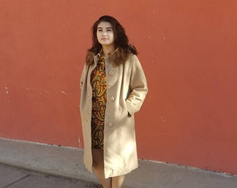 60s Vintage Dumas Wool Coat // Fur Mink Collar / Medium / Madmen