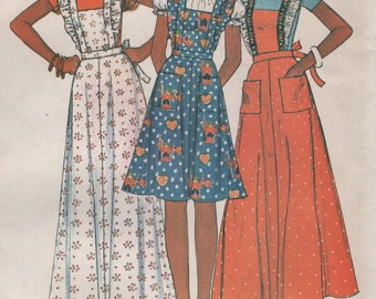 Pinafore Aprons 3 Lengths with Ruffles Size 14 16 Vintage 1970s Uncut Sewing Pattern