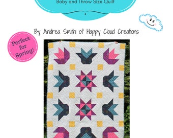Happy Flower Garden Quilt Pattern, Baby, Crib,Toddler size, Throw Size, floral, flower, half square triangles, flying geese, easy pattern