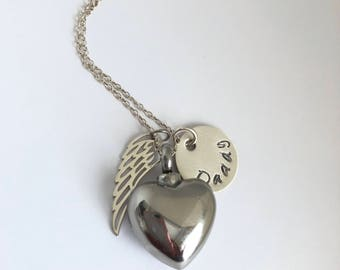 Personalized Heart Cremation Urn Memorial Necklace with Sterling Silver Angel Wing charm and name/human ashes necklace/pet ashes memorial