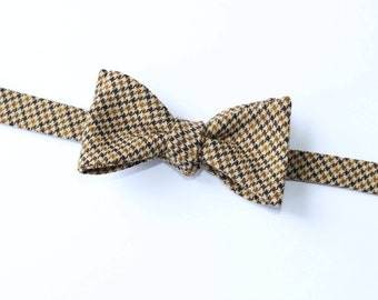 Houndstooth Wool Bow Tie~Black & Tan Houndstooth Bow Tie~Mens Self Tie Bow Tie~Mens Pre-Tied~Anniversary Gift~HoBo Tie~Wedding~Wool Bow Tie~