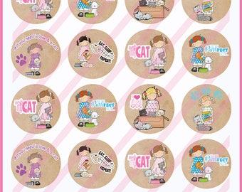 Printable Cat Stickers/Cat Tags/Cat Labels/Cat Collage/Cat tags/Cat cupcake toppers/collage/Cat clipart/Cat treat bags/mini card