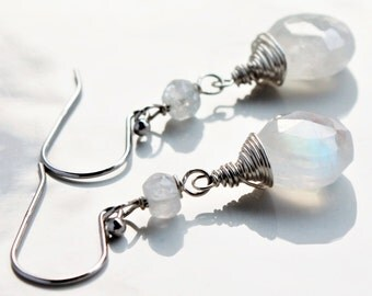 Moonstone Earrings, oxidized Sterling Silver wire wrap, milky white iridescent gemstone, June birthstone holiday gift for her, 4203