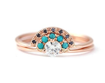 Turquoise Bridal Wedding Set, Rose Gold Wedding Set, Diamond Ring with Turquoise, Black Diamond Wedding Ring, Diamond & Turquoise Ring