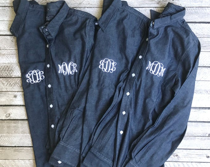 Monogrammed Chambray Shirt, Bridesmaid Gifts, Monogrammed gifts, Monogrammed button down shirts