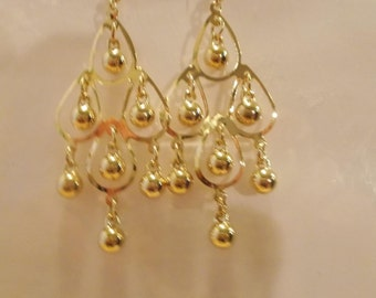 Gold Tone Layered Chandelier Earrings with Gold Tone Dangles