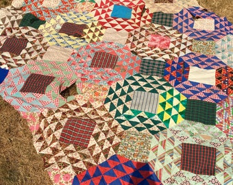 Vintage Quilt Top, Cutter, Hand Stitched, Wonderful Fabrics