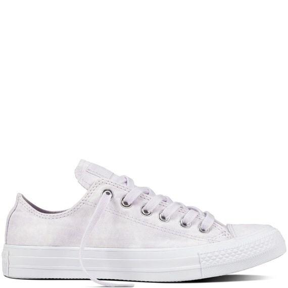Lavender Bride Converse Wedding Lilac Purple Marble Wash Canvas w/ Swarovski Crystal Rhinestone Bling Chuck Taylor All Star Sneakers Shoe