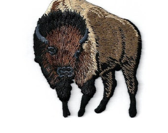 Buffalo - Brown Buffalo - Bison - Rodeo - Embroidered Iron On Patch - Left