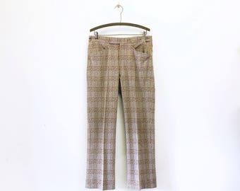 1970s Disco Era Men's Plaid Pants Vintage 70s Leisure Suit Era Brown & Tan Plaid Knit Polyester Pants / Trousers Size MEDIUM to LARGE