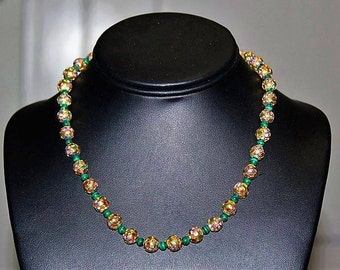 Vintage Chinese Export Cloisonne Gold Gilt Malachite Bead Exquisite Necklace NG3