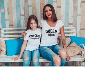 Queen and Princess Mommy and Me Shirt- Womens T-Shirt. Kids Tee. Black, White. Mom and Daughter