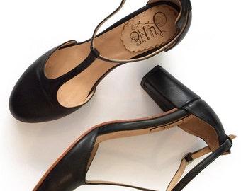 Sakura Black hh - High Heel sandal in black leather - Handmade in Argentina