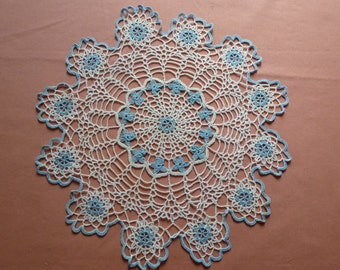 """Crocheted Doily 12 3/4 """" Diameter / Vintage 1950's / Delicate Stitches Blue Crocheted Roses / Needs starching was Ironed Only-  Blue / White"""