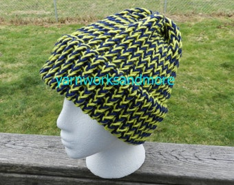 Yellow And Blue Knit Hat, Winter Hat, Loom Knit Hat, Beanie, Warm Hat, Unisex Hat, Knit Cap, Team Spirit, Team Colors, Gifts Under 20