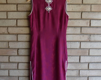 Vintage Asian Cheongsam Maxi Dress