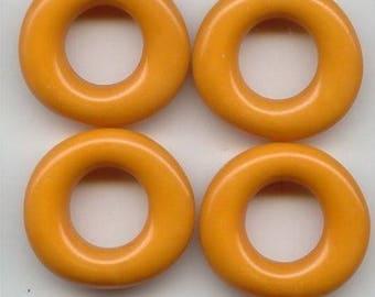 6 Vintage Ocker Acrylic 28mm. Unique Donut Beads 6249