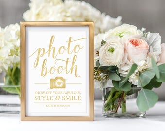 Wedding Photobooth Sign // Gold Wedding Reception Signs // Gold Photo Booth Sign Printable // Editable Wedding Signs