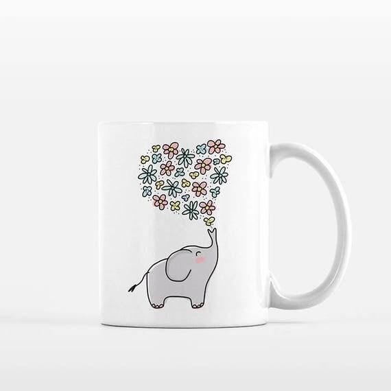 Elephant Mug, Elephant Coffee Mug, Elephant Gift Girlfriend Gift, Floral Mug, Heart Flowers Mug, Elephant Cup, Elephant Coffee Cup, Cute Mug