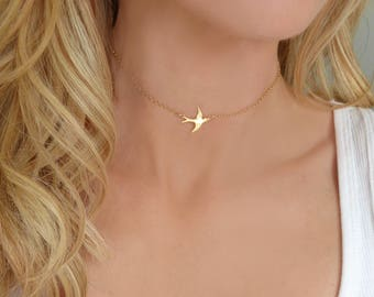 Bird Choker Necklace, Small Dove Bird Necklace Gold, Sparrow Necklace, Tiny Gold Choker, Dainty Swallow Necklace, Jewelry Gift For Women