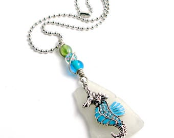 """Large Thick Frosted White Rhode Island Sea Glass Bottle Bottom Pendant with a Seahorse and Wire Wrapped Glass Beads on a 4mm Ball Chain, 16"""""""