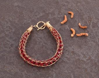 Chunky Red Burgundy Swarovski Crystals Bracelet, 14K gold filled Bracelet , Designer Bracelet, Boho Chic Bracelet, Dark Red Bold Bracelet,