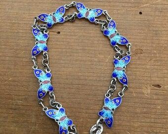 Cloisonné Delicate Vintage Butterfly Bracelet
