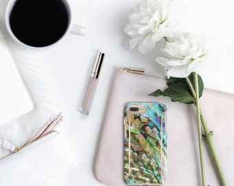 Platinum Edition Abalone Shell with Rose Gold Detailing Hybrid Hard Case Otterbox Symmetry iPhone 6 / iPhone 7 / iPhone 8 / iPhone X