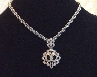 "Vintage Trafari 18"" Silver Pendant Necklace"