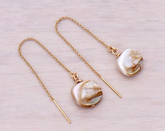 14K Gold Filled Ear Threader with Shell Earrings.  MS364