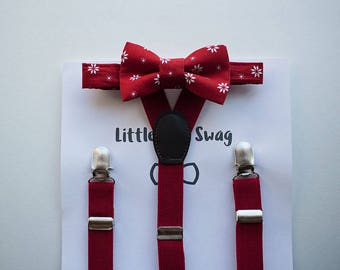 Red Suspenders and Bow Tie for Boys, Boys Bow Tie, Christmas Outfit, Stocking Stuffer, Boys Gift, Baby Boy Bow Tie, Boys Clothes, Cake Smash