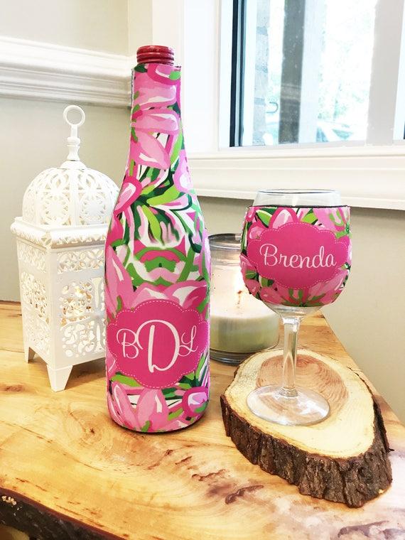 Gifts for Wine Lovers Wine Gift Set Monogrammed Wine Bottle & Wine Glass Insulator Wine Bottle Wine Glass Hugger Lilly Inspired Wine Hugger