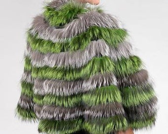 Real Fur Canadian |Green & Silver Nightlife Fur Cape