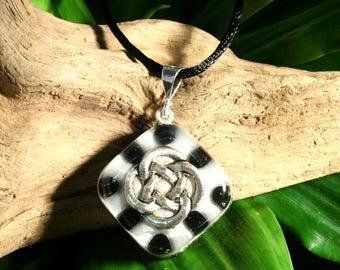 Onyx Orgone Pendant - Celtic Knot  - Handmade Healing Jewelry - Root Chakra Energy Balancing - Small