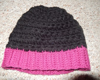 Black and Pink Ponytail Crocheted Beanie