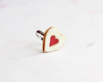 Miniature Heart Linzer Cookie Ring, Miniature Food Jewelry