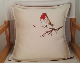 Christmas Robin hand-painted cushion, OOAK hand-painted throw pillow, festive hand-painted Robin